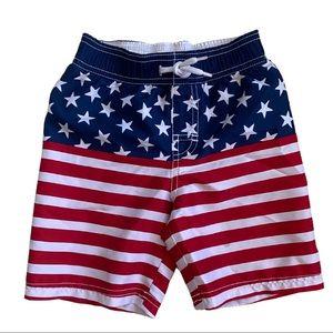 Boys Surf Swim Shorts American Flag Size 4T